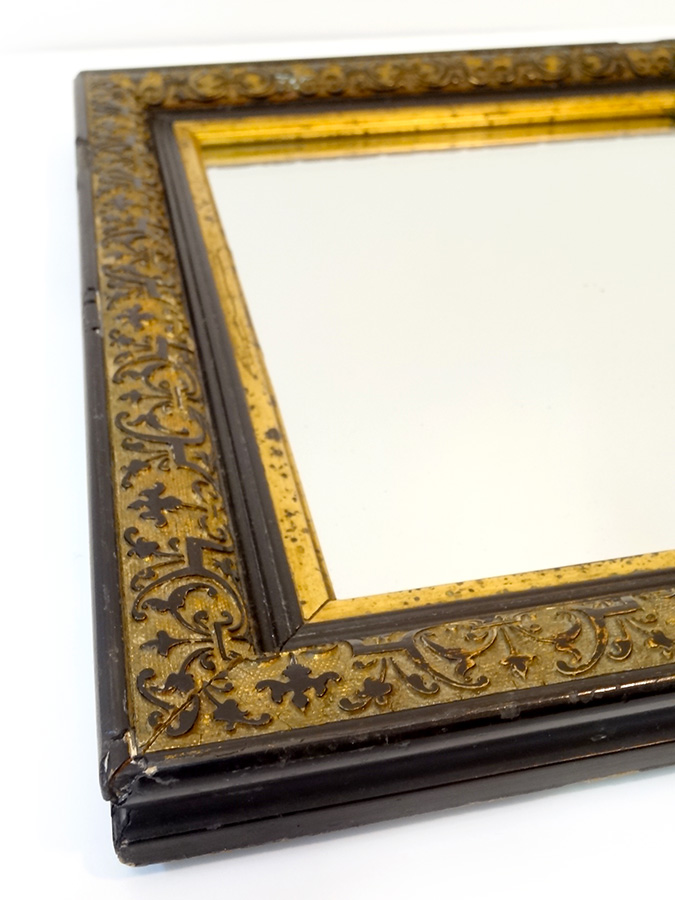 Miroir noir et or type ancien ann es 40 50 brocnshop for Decoration murale annee 50