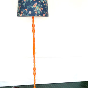 LAMPADAIRE Design 70 Bois, Acier et Tissu Fleuri