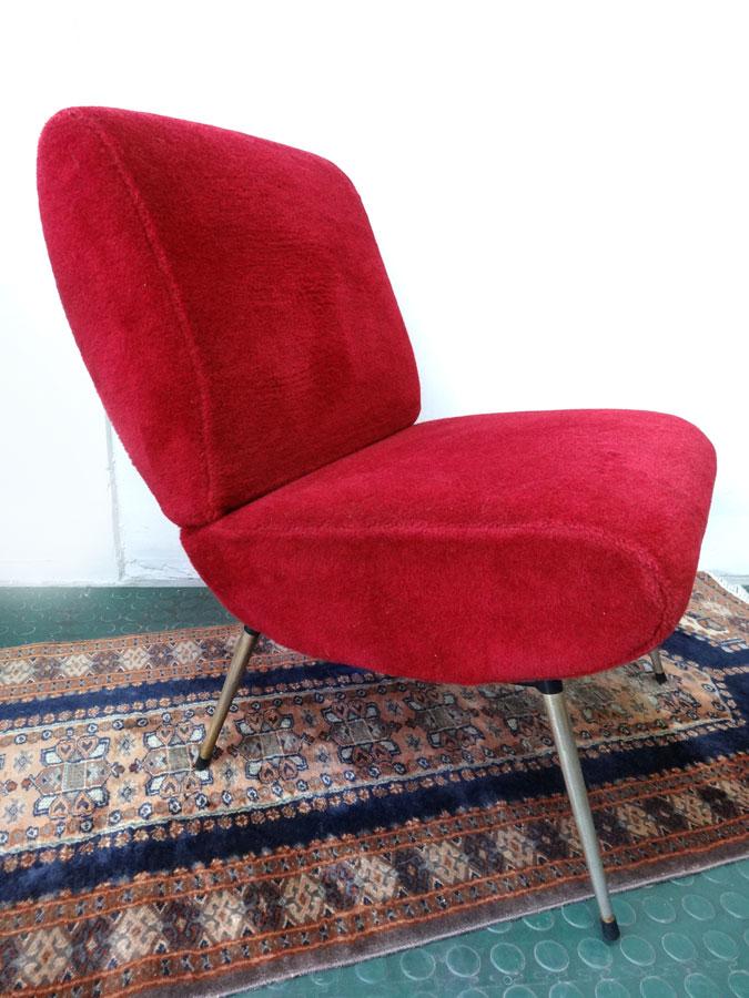 fauteuil design 1960 rouge pelfran brocnshop. Black Bedroom Furniture Sets. Home Design Ideas