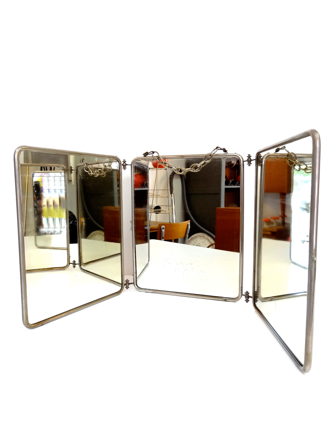 miroir ancien de barbier dossier cuir 3 volets articul s brocnshop. Black Bedroom Furniture Sets. Home Design Ideas
