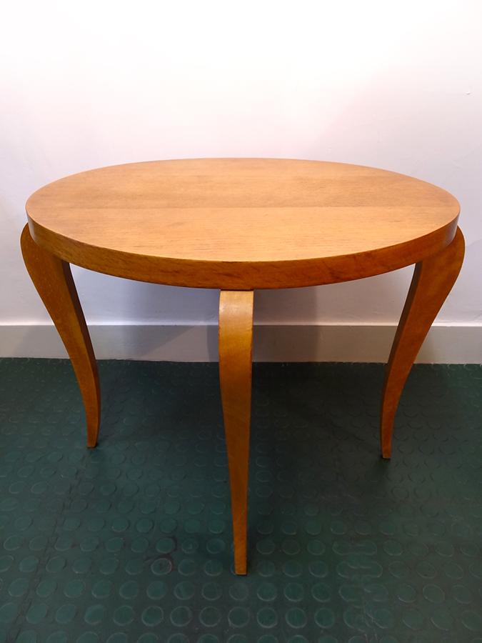 Table basse ronde bois clair ann es 60 brocnshop - Table ronde bois clair ...