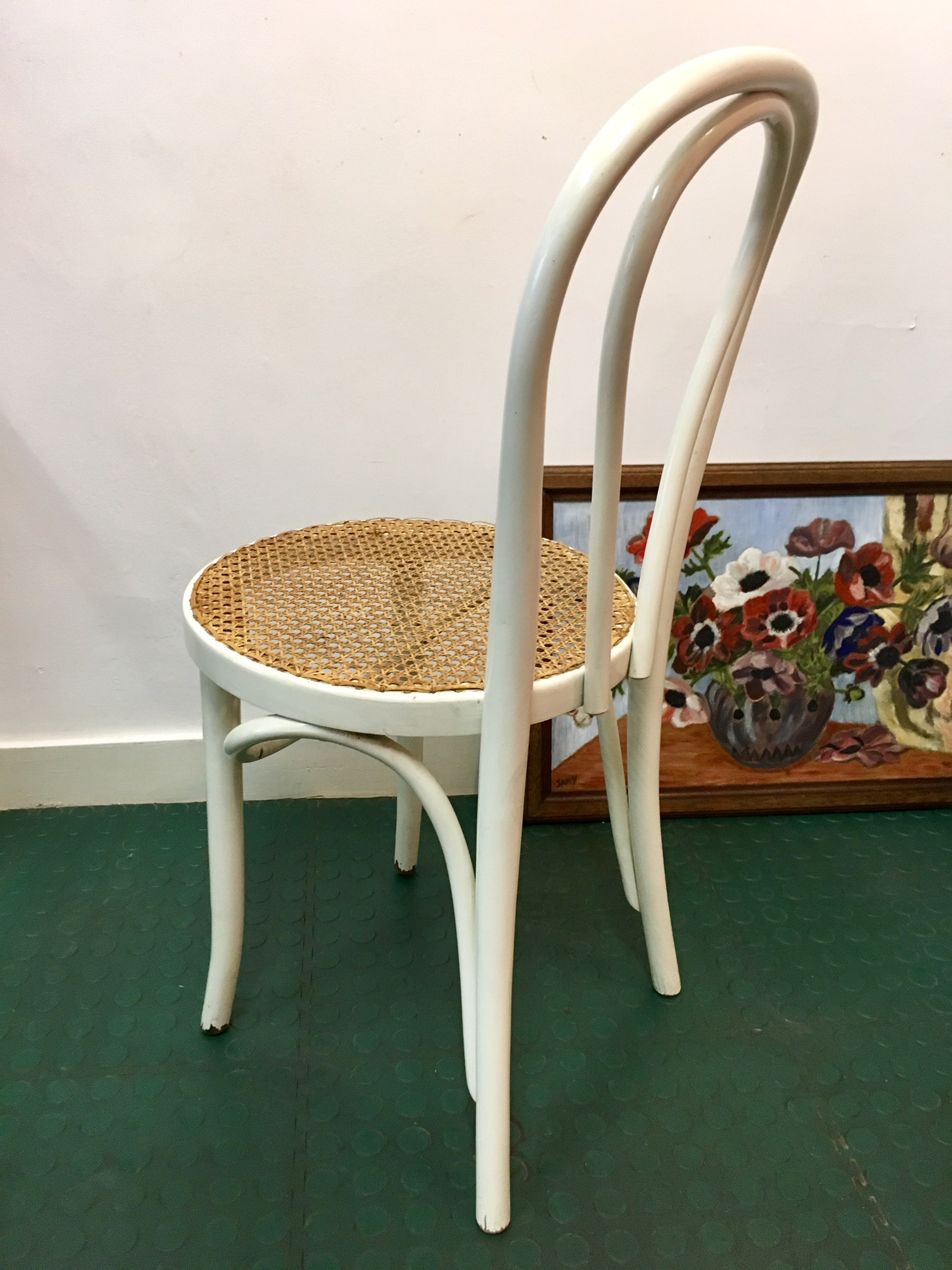 CHAISE De Bistrot Cannee BLANCHE Ancienne